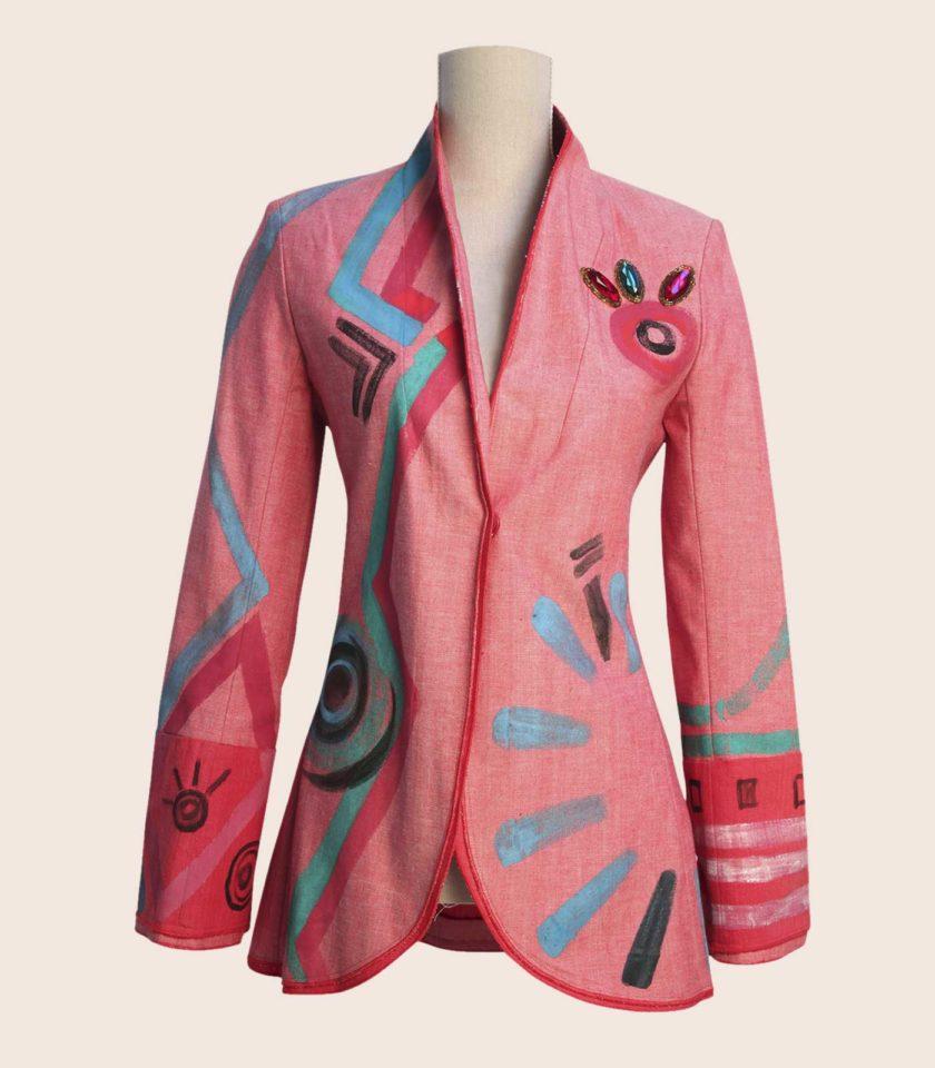 Giacca di lino rosa di classe