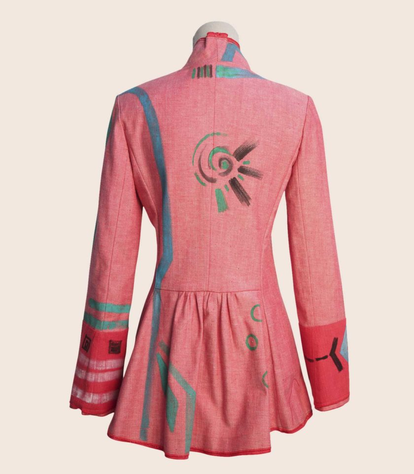 giacca rosa elegante modello frac