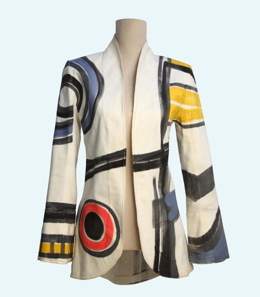 giacca in cotone denim dipinta a mano