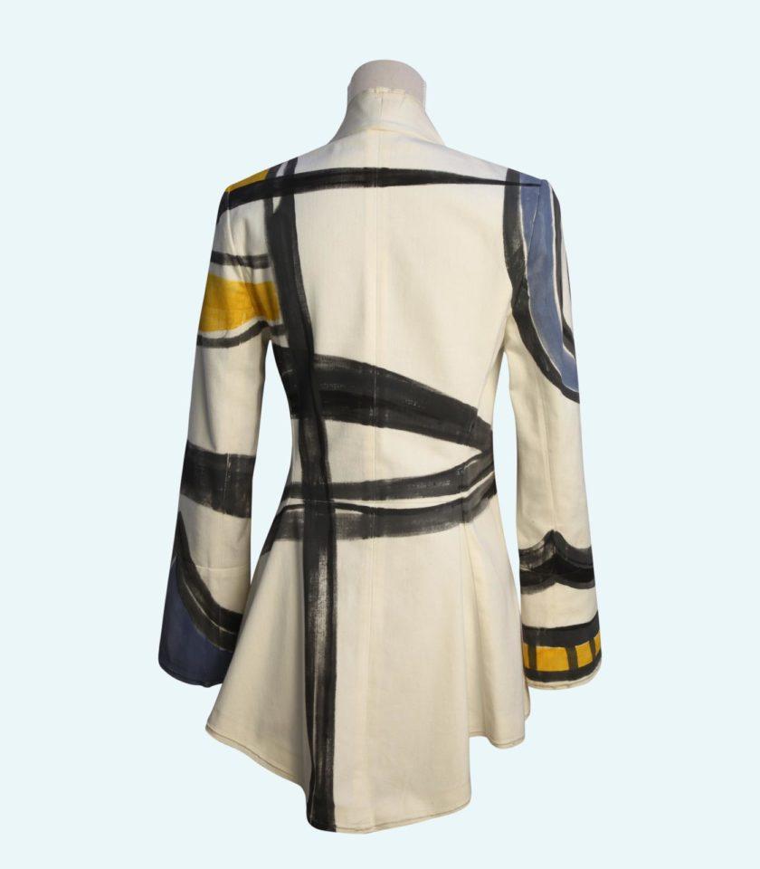 giacca in cotone denim astratta