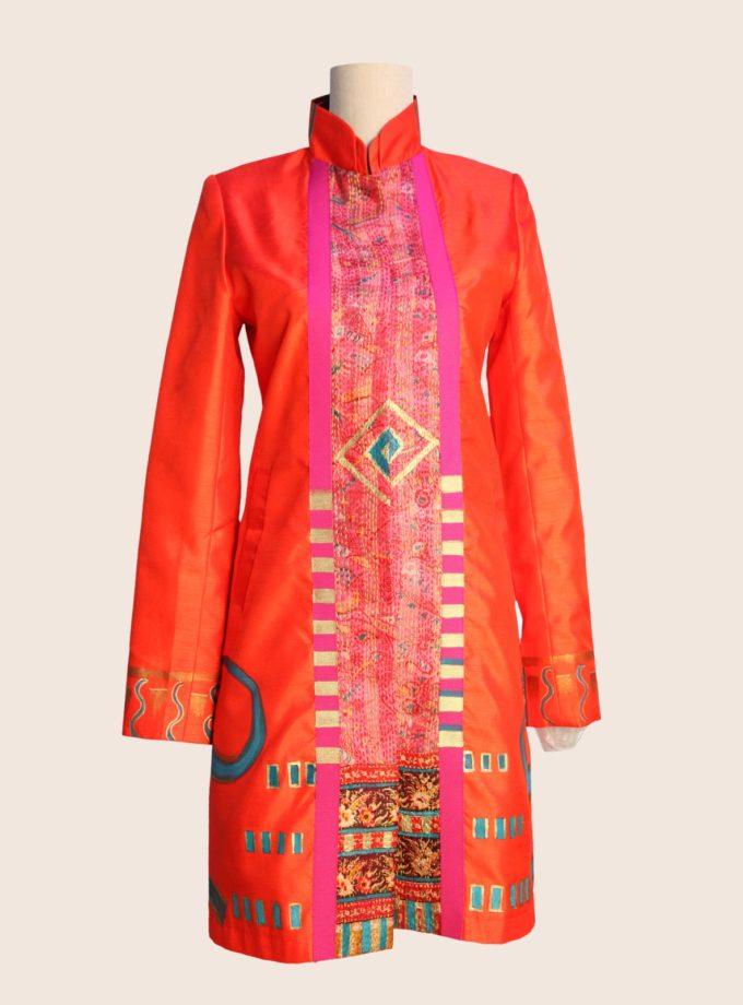 giacca lunga elegante dipinta a mano