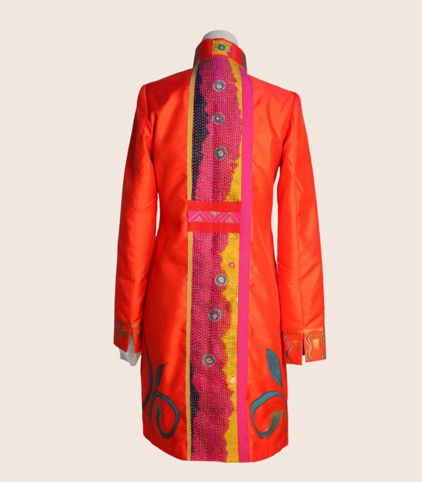 giacca lunga elegante arancione